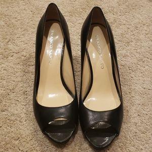 Franco Sarto black peep toe heels size 9